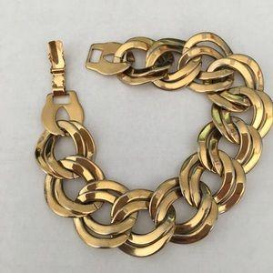 Vintage gold tone chunky link bracelet